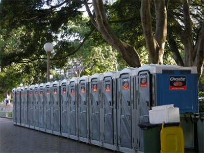 Mobile Toilets standing outside at Canon HQ
