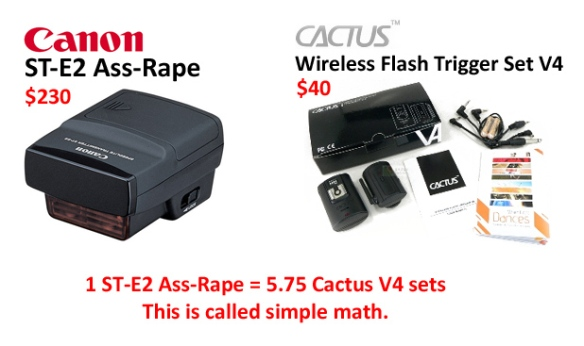 Canon ST-E2 Ass-Rape VS Cactus V4