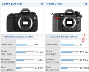 DXO Mark D7000 and 60D scores