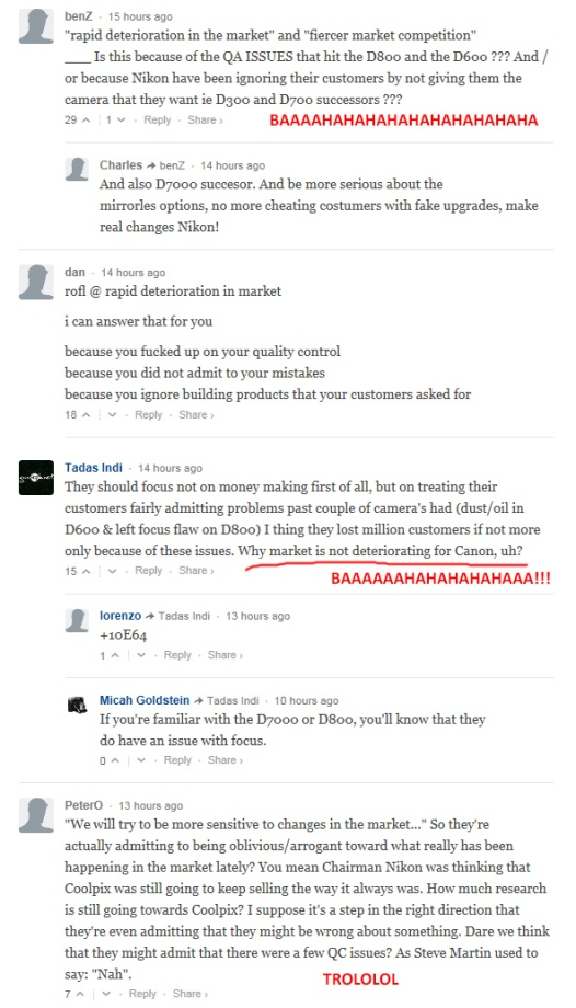 Nikon morons are seriously disappointed